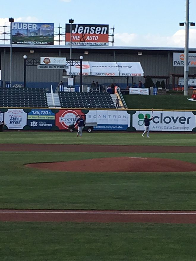Scantron banner in outfield at Werner Field - Omaha Storm Chasers